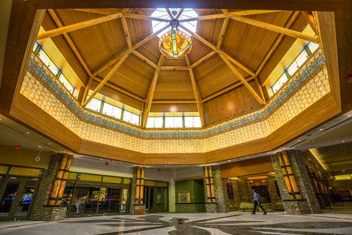 This photo taken Tuesday, Jan. 9, 2018, shows the rotunda inside the new Four Winds Casino Resort in South Bend, Ind. The Pokagon Band of Potawatomi Indians is set to open the casino on Tuesday, Jan. 16, joining three other casinos it already operates nearby in southwestern Michigan.  (Robert Franklin/South Bend Tribune via AP)