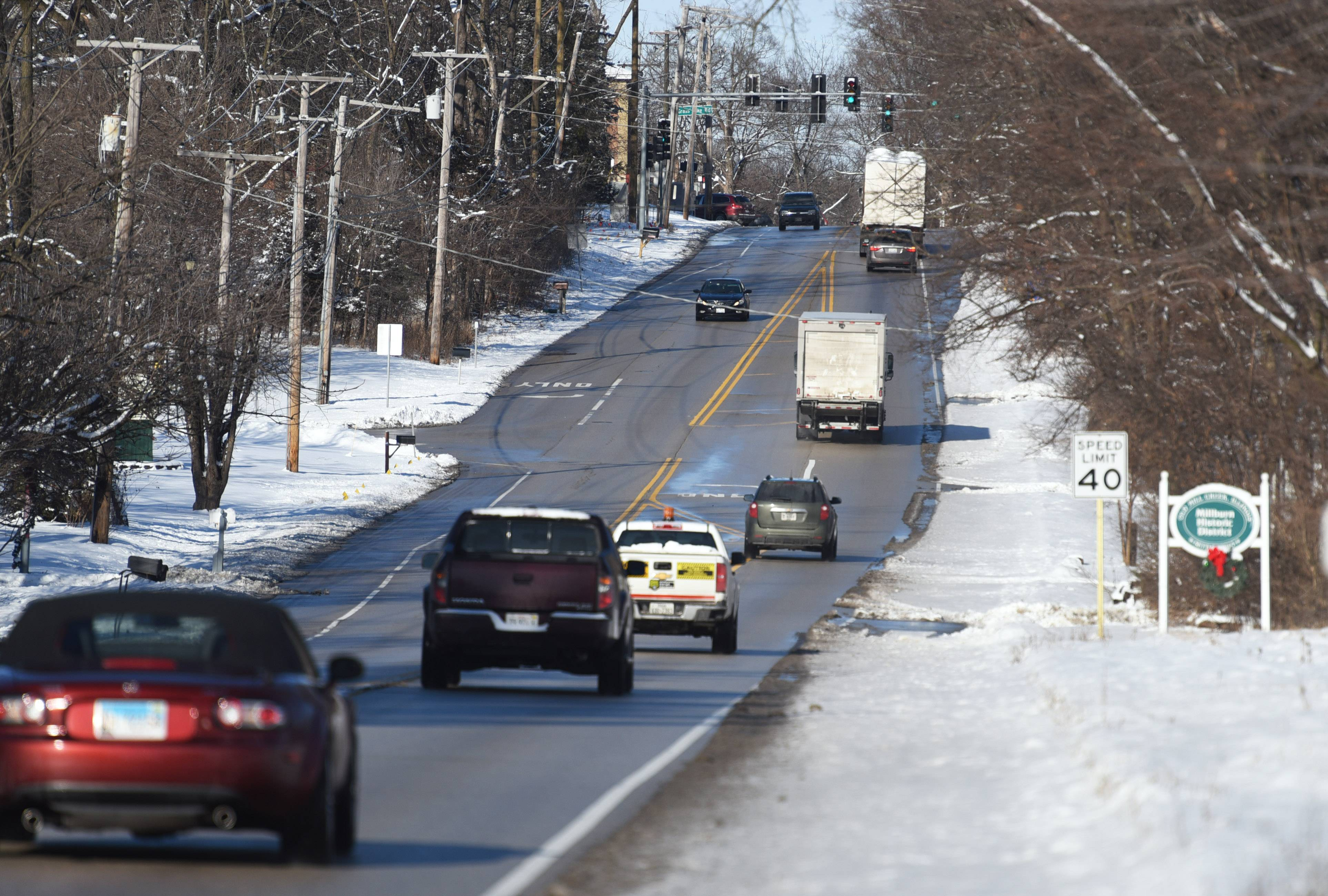 Traffic travels north on Route 45 toward the Millburn Historic District Tuesday afternoon.