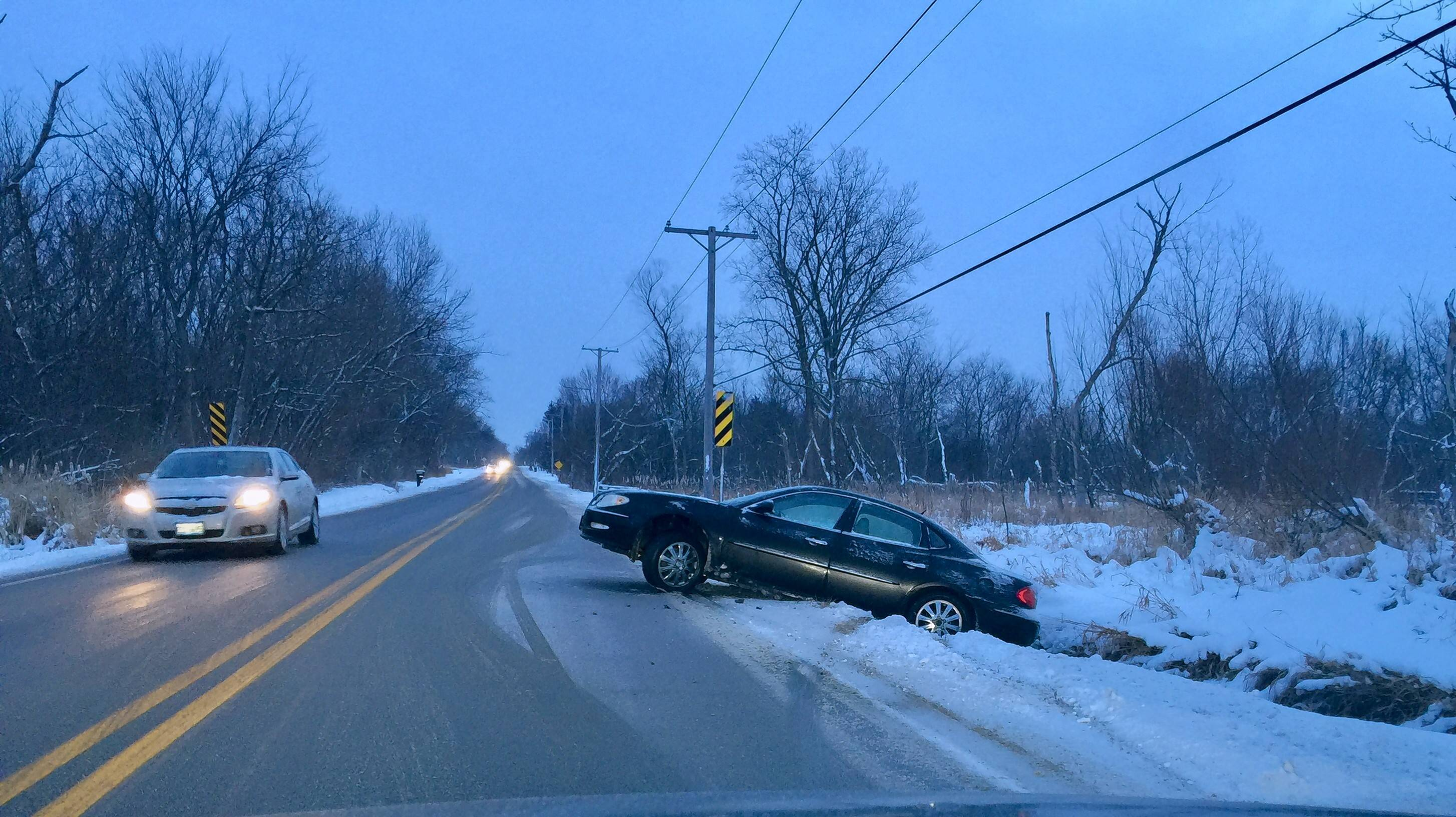 A car slid into a ditch Tuesday morning on Boncosky road just east of Sleepy Hollow Road near Sleepy Hollow.