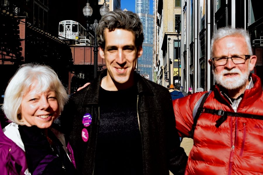 At Chicago's Women's March, Patti Werner, a Mount Prospect attorney and her husband Pete, snapped a picture with state Sen. Daniel Biss.