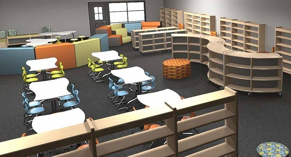 Rendering of the design of the new Limitless Learning Center that Ellis Elementary School in Round Lake will unveil Tuesday. The center will replace the school's library and computer room that were destroyed by flooding last summer.