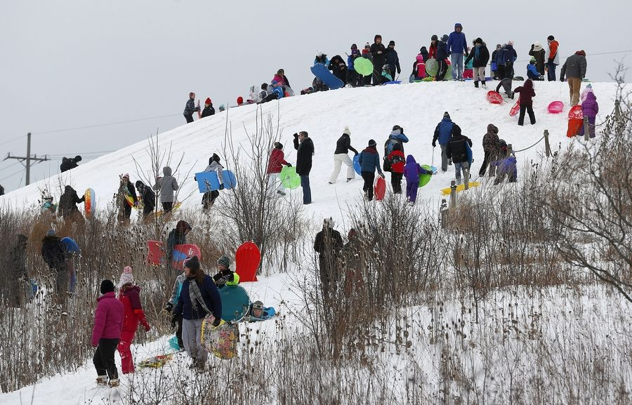 People crowd the sled hill at Old School Forest Preserve in Libertyville after a winter storm dumped upward of six inches on the area Friday.