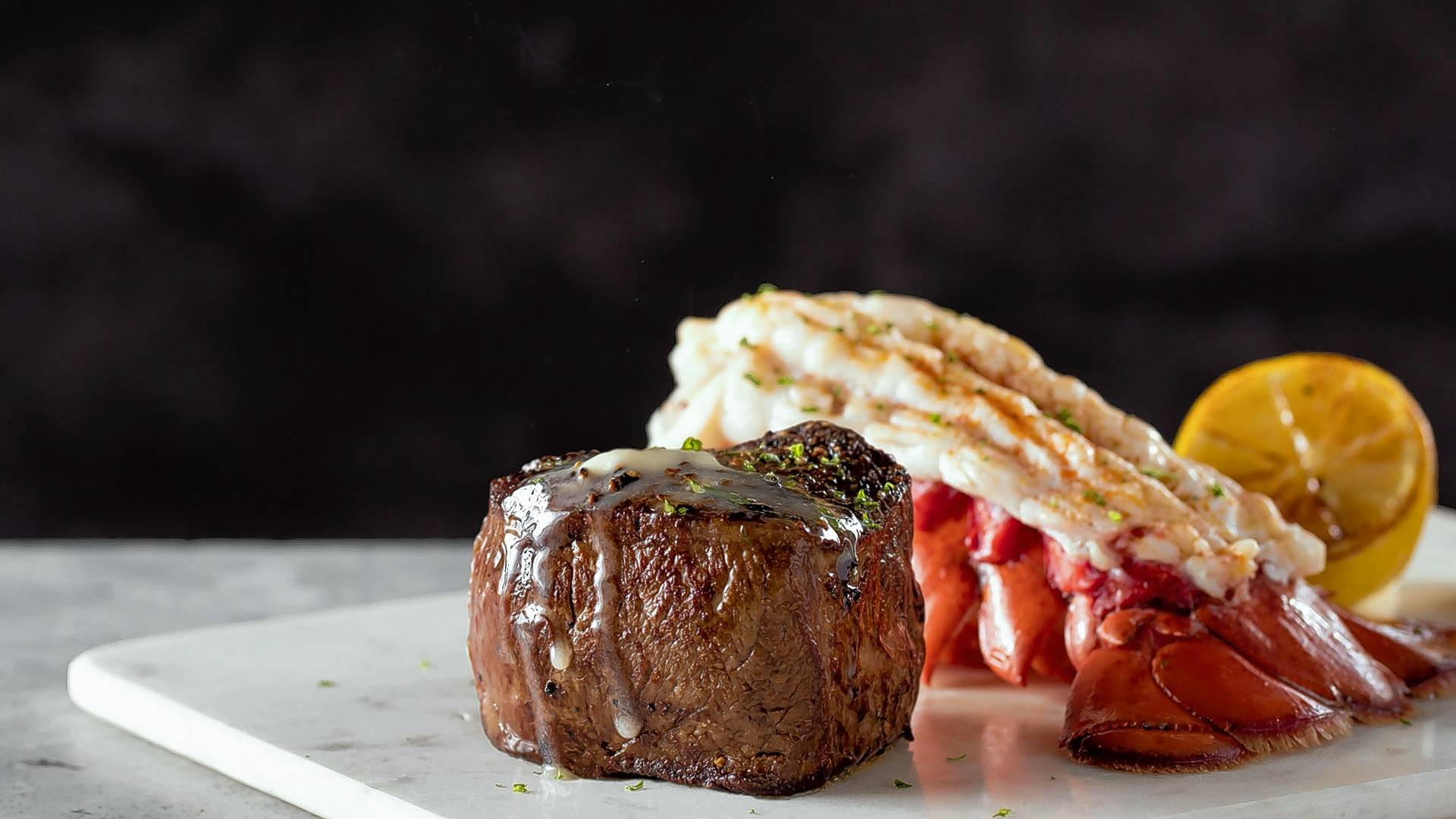 Filet and lobster is a highlight of B.'s Wine and Dine Your Valentine dinner.