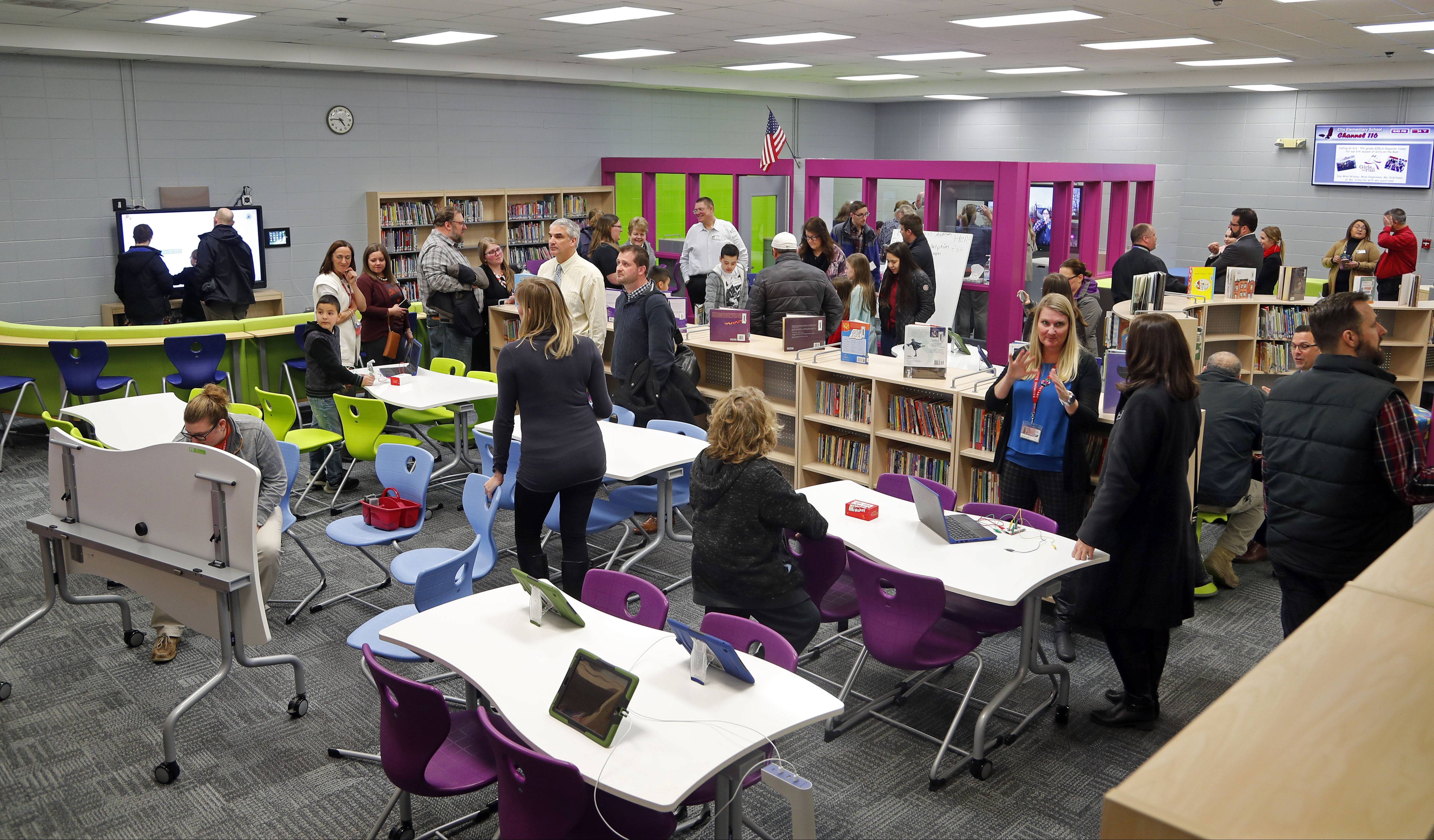 Steve Lundy/slundy@dailyherald.comEllis Elementary School celebrated their new Limitless Learning Commons Tuesday in Round Lake Beach. The school received a new modern library after their old one was destroyed in the July 2017 flood.