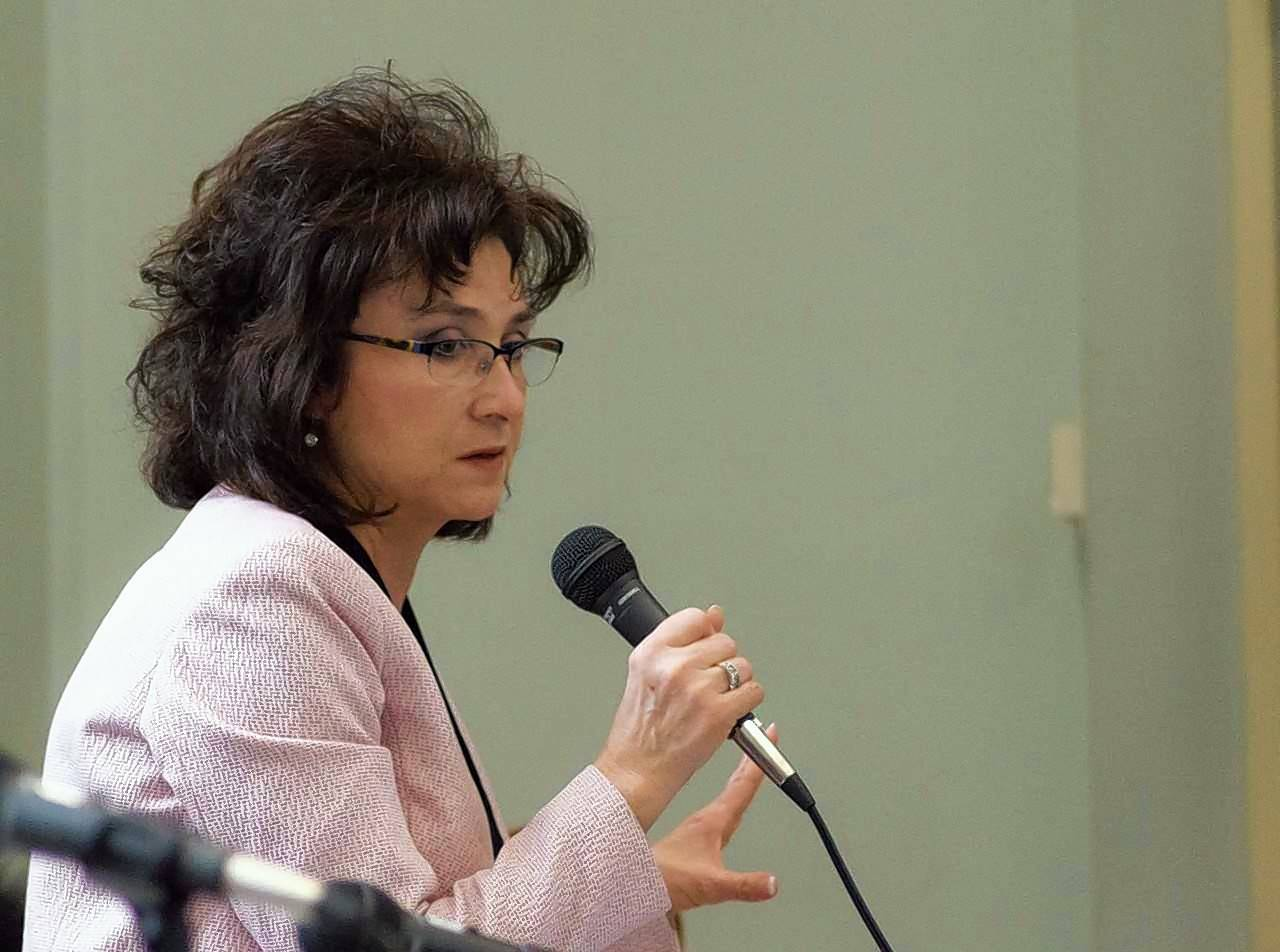 "Kane County Board member Theresa Barreiro of Aurora is part of a push to restore a 24-hour monitoring program for people accused of violent crimes. She faced pushback Tuesday from board Chairman Chris Lauzen. Later in the day Barreiro tweeted: ""Slapped into the reality of the misuse of authority #kanecountyboardchairman #powerstruggles."""