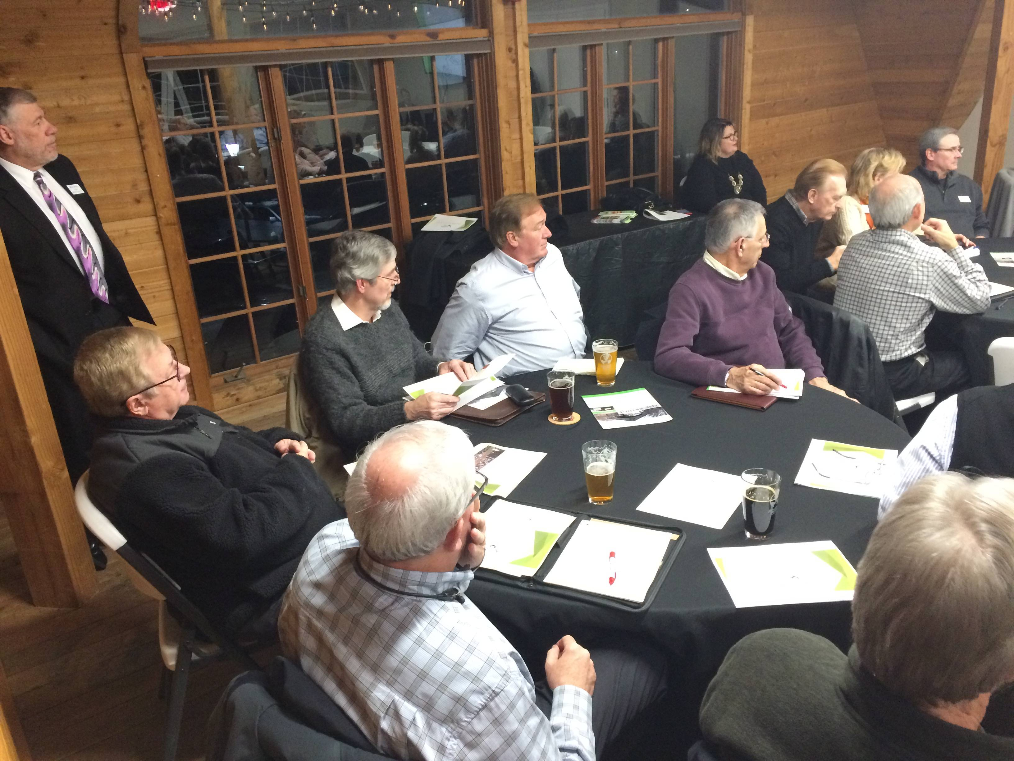 Some attending the special Long Grove village board meeting at Buffalo Creek Brewing enjoyed craft beer during the session.