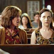 "In this scene from ""Becks,"" the singer/songwriter played by Lena Hall, right, clashes at church with her mother, played by Christine Lahti. The movie is based on the life of Arlington Heights native Alyssa Robbins, who has a much better relationship with her mom, Marilyn, and calls her every day."