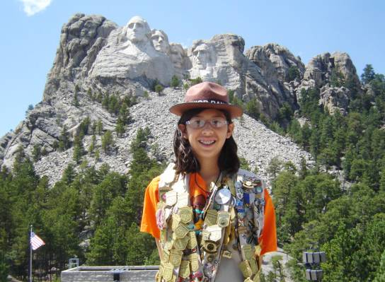 Super junior ranger Aida Frey at Mount Rushmore.