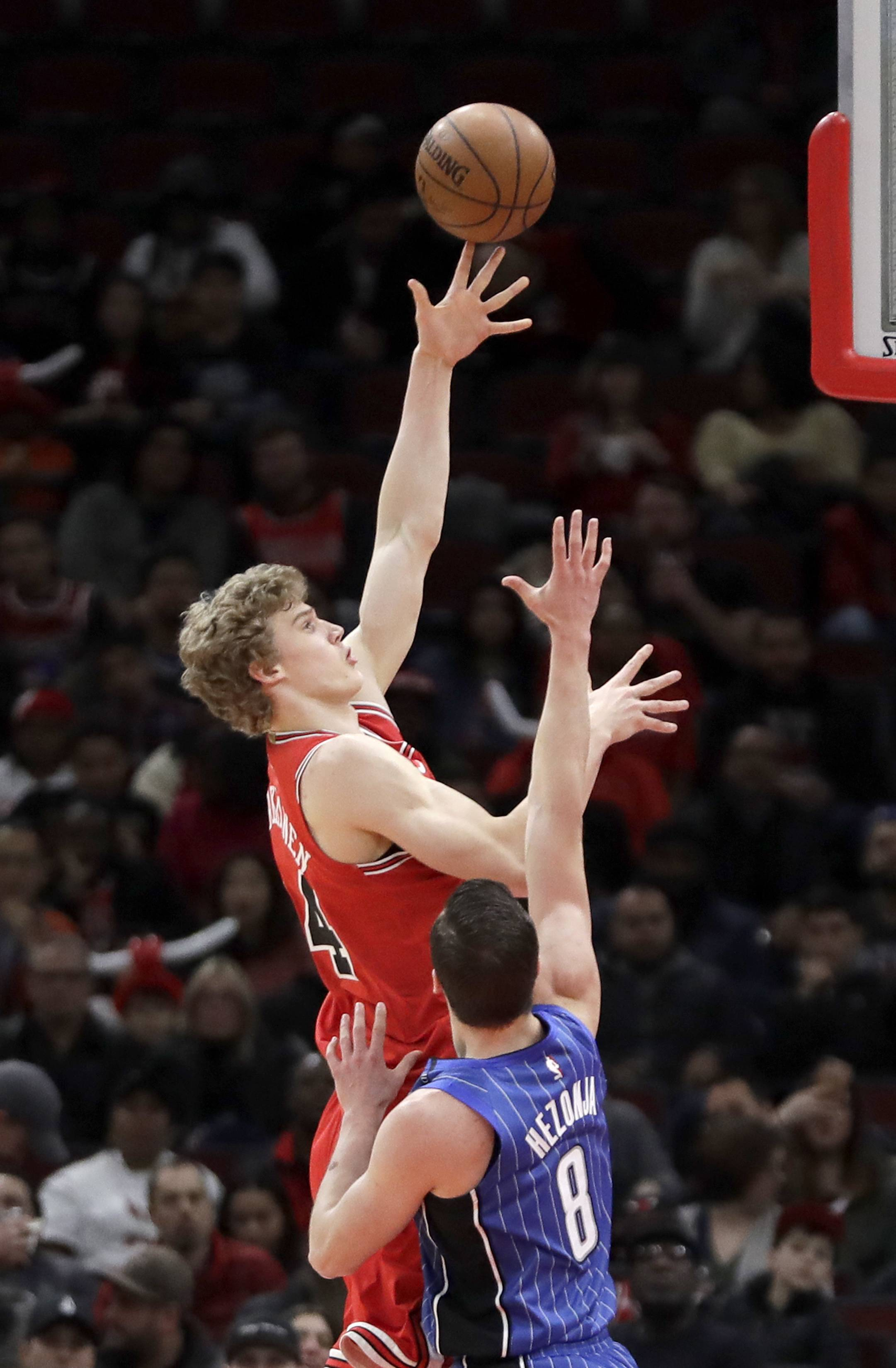 "Chicago Bulls forward Lauri Markkanen (24) says he doesn't believe he's hit a ""rookie wall"" because he loves what he's doing."