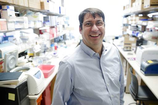 In this Tuesday, Jan. 23, 2018 photo,  James Riley, an HIV and gene therapy expert at the University of Pennsylvania, poses for a photograph in  Philadelphia. Gene therapy has scored wins against some rare blood diseases and even a form of blindness. Now scientists are trying it for a much more common foe, HIV, the virus that causes AIDS.