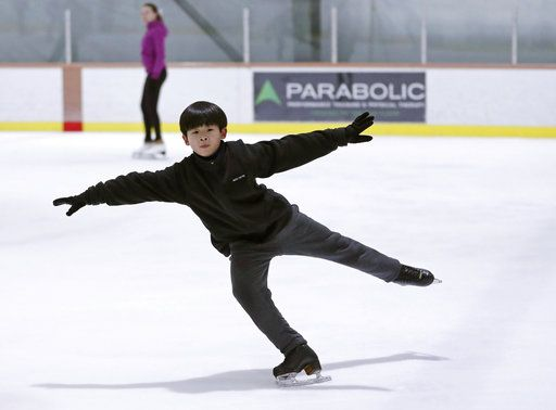 Keita Horiko, the 10-year-old U.S. Figure Skating juvenile boys champion, practices during his second workout of the day Thursday, Feb. 8, 2018, at the Ice House in Hackensack, N.J. With Asian-Americans making up half of the U.S. figure skating team at the Pyeongchang Olympics, talented youngsters like Horiko can hope to realize dreams of one day being on the ice at the international as they have plenty of role models to emulate.