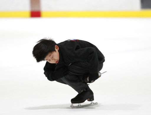 Ten-year-old Keita Horiko practices a move during his second workout of the day Thursday, Feb. 8, 2018, at the Ice House in Hackensack, N.J.
