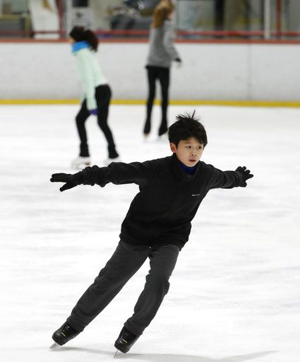 Keita Horiko, the 10-year-old U.S. Figure Skating juvenile boys champion, works up speed during a practice session, his second of the day, at the Ice House, Thursday, Feb. 8, 2018, in Hackensack, N.J.