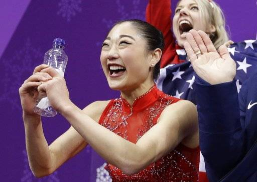 Mirai Nagasu of the United States reacts as she waits for her score in the ladies single skating free skating in the Gangneung Ice Arena at the 2018 Winter Olympics in Gangneung, South Korea, Monday, Feb. 12, 2018.
