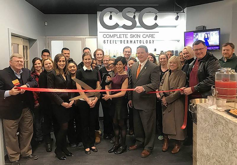 Members of Chamber630 welcomed CSC Steil Dermatology and owner Christina Steil to its new location, 157 Main St., in downtown Downers Grove with a ribbon cutting celebration.