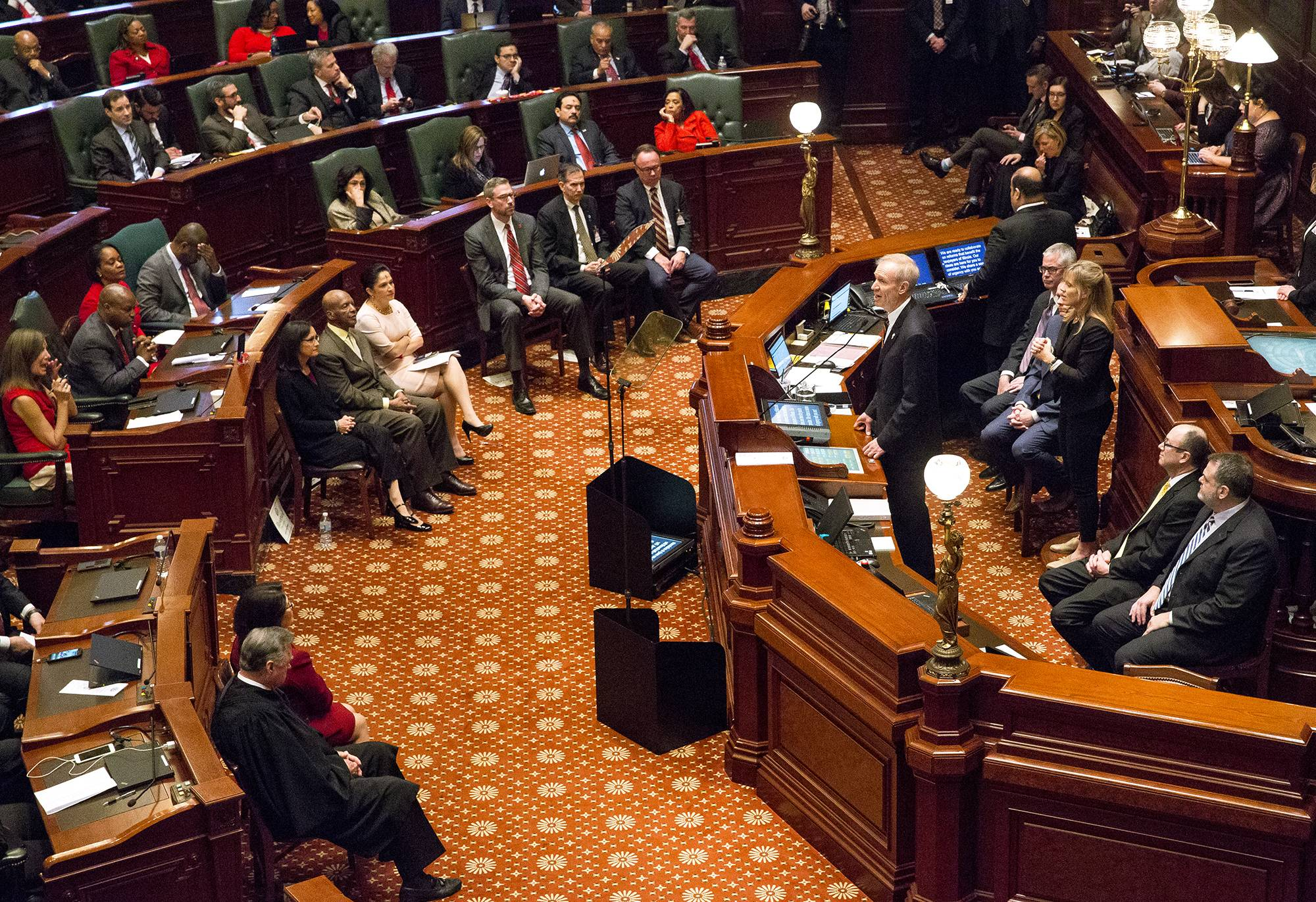 Illinois Gov. Bruce Rauner delivers his budget address to a joint session of the General Assembly Wednesday in the House Chamber.