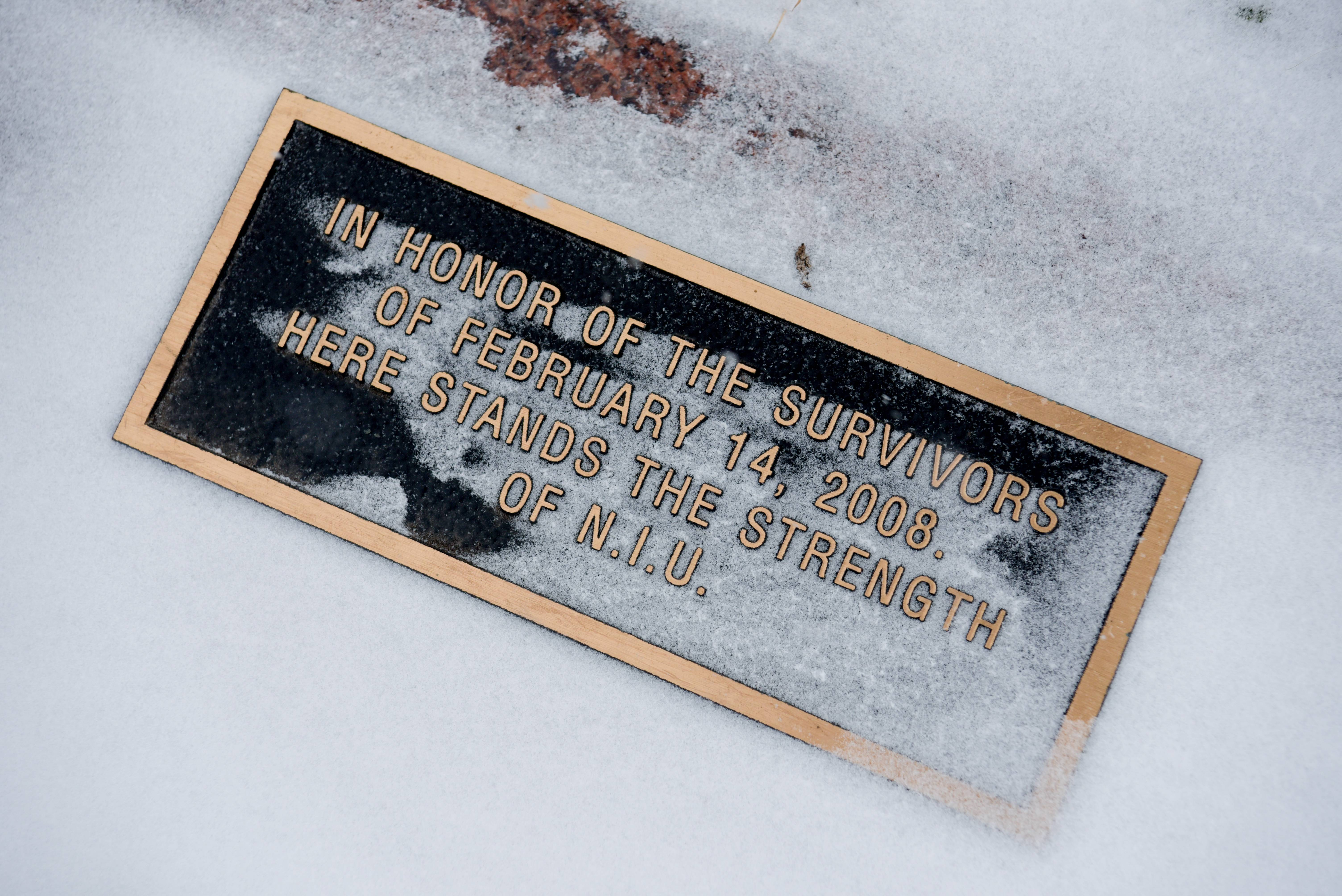 The names of the five students killed a decade ago in the shooting at Northern Illinois University are carved in granite. This plaque adorns a tree that was planted to honor the strength of the survivors.