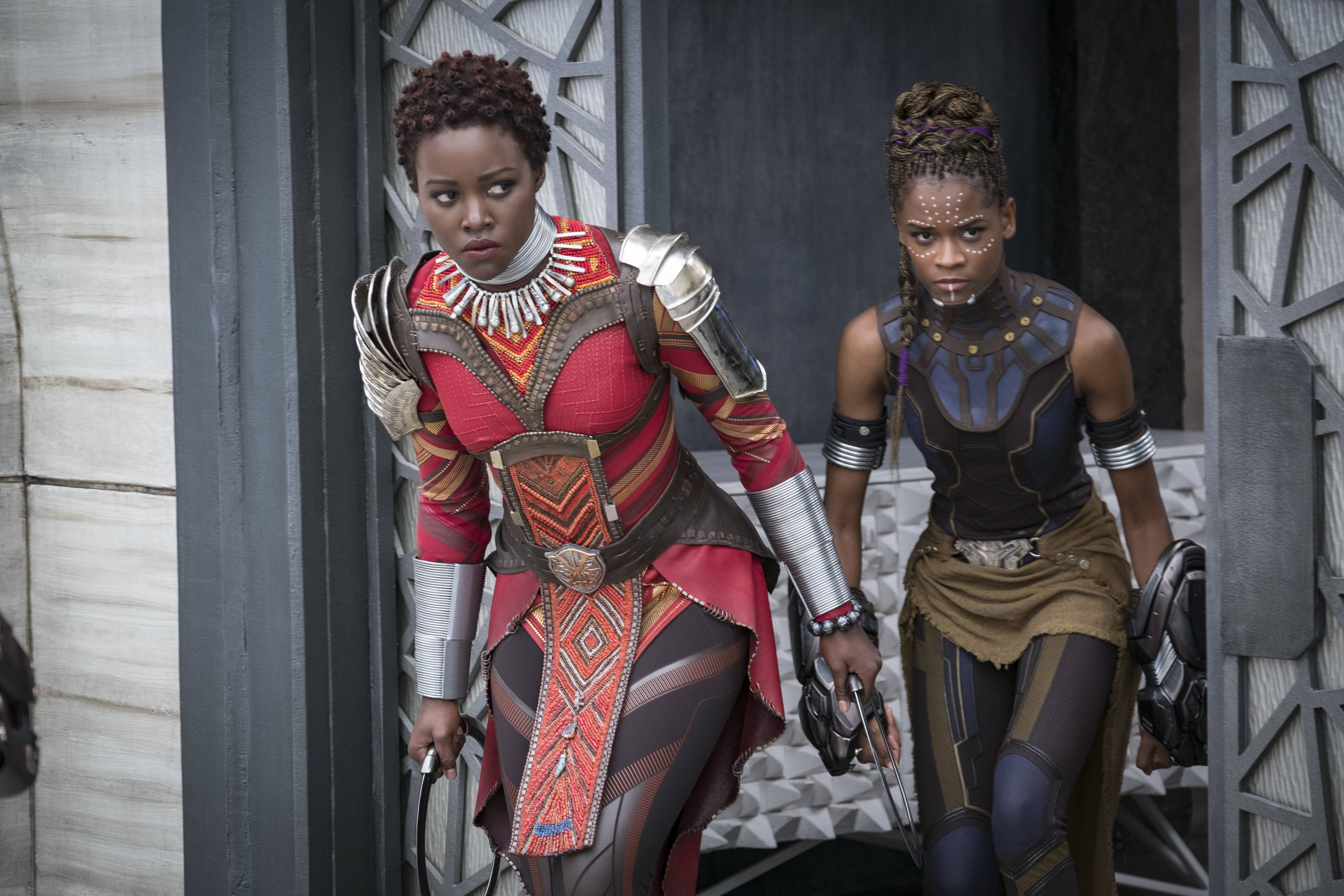 "Lupita Nyong'o, left, and Letitia Wright star in Marvel Studios' ""Black Panther."""