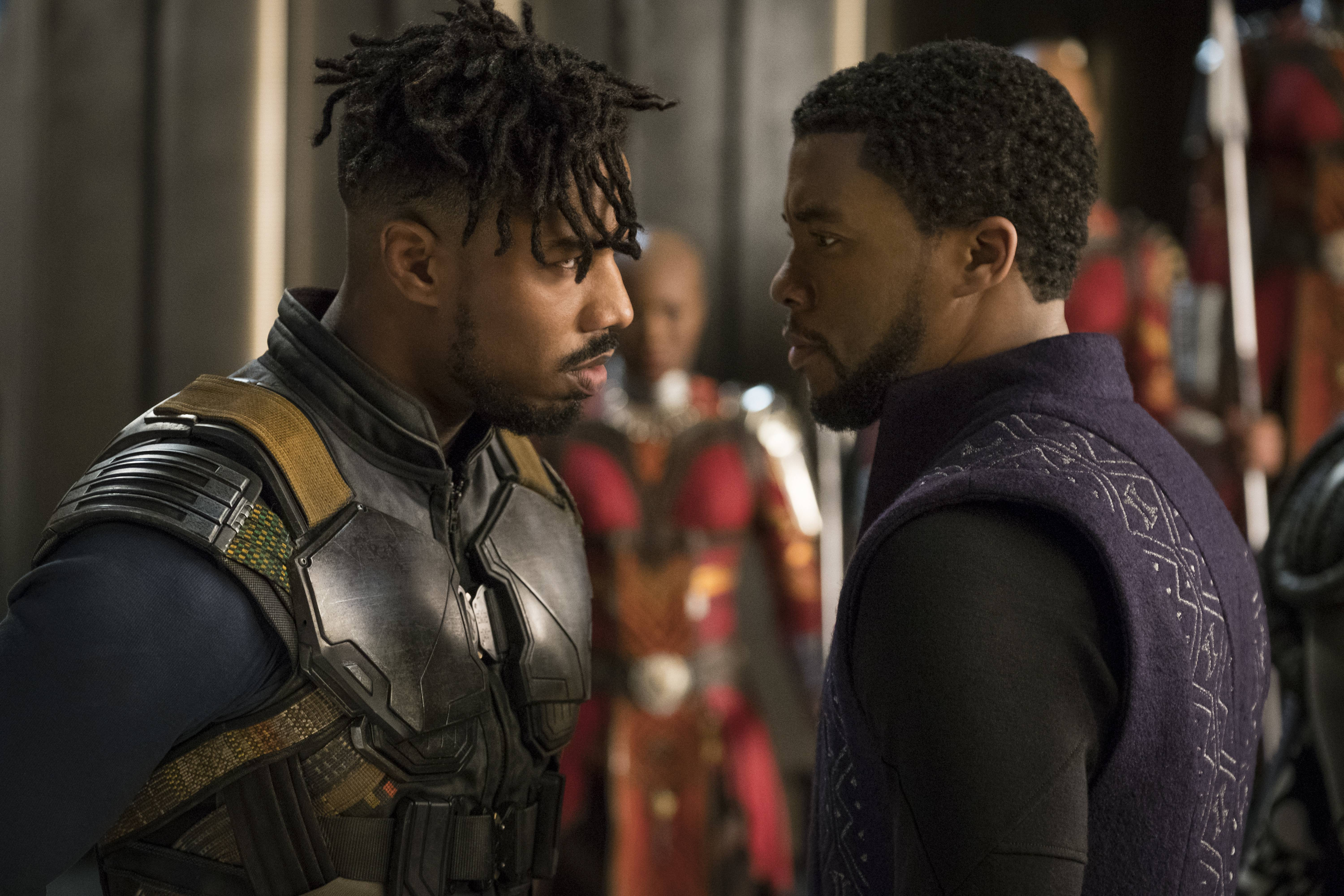 "A former CIA contractor (Michael B. Jordan), left, faces off with Wakanda's new king (Chadwick Boseman) in Ryan Coogler's groundbreaking superhero epic ""Black Panther."""