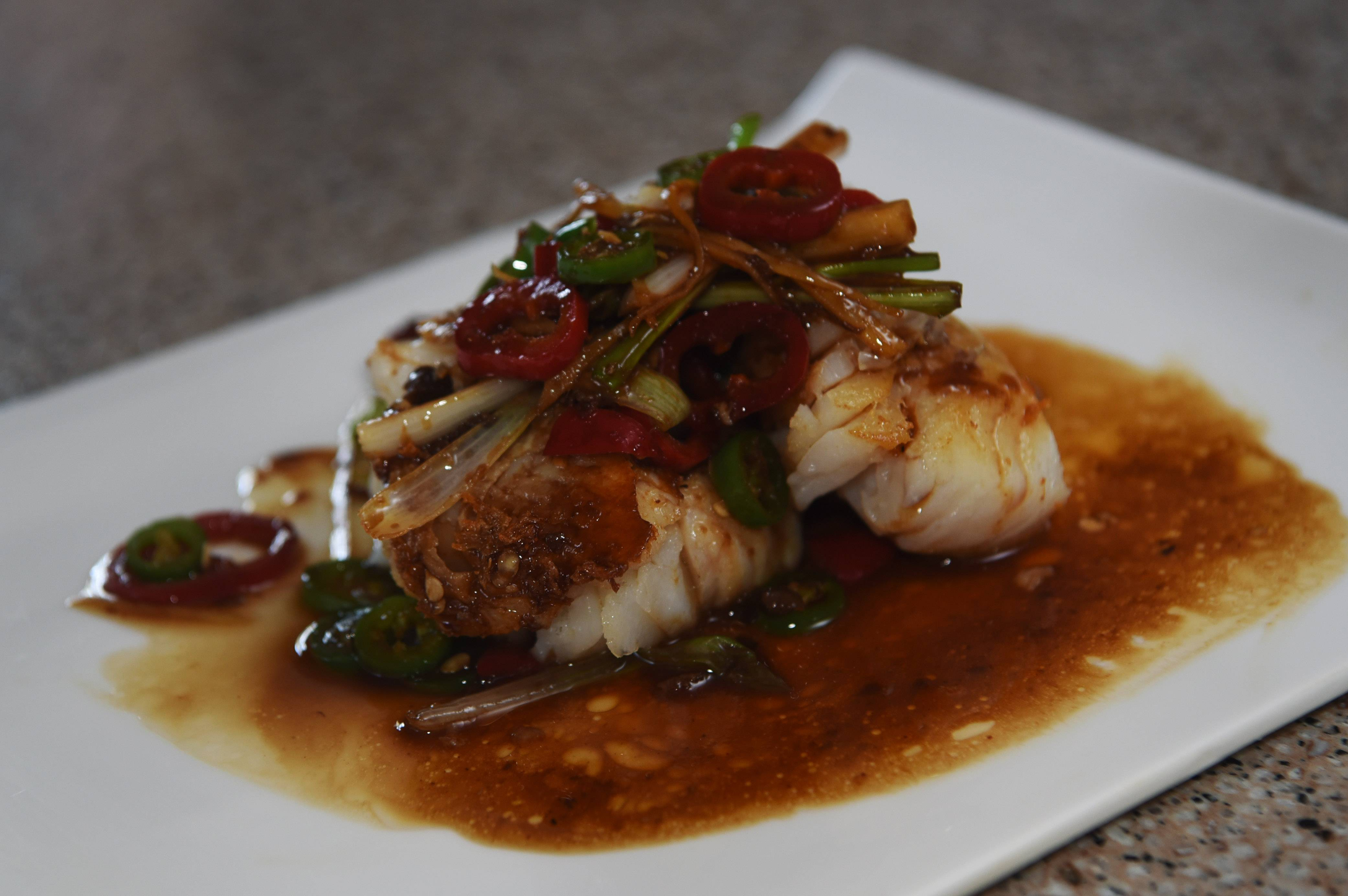 Pan-Seared Cod prepared for Chinese New Year by Ying Stoller of Gurnee.