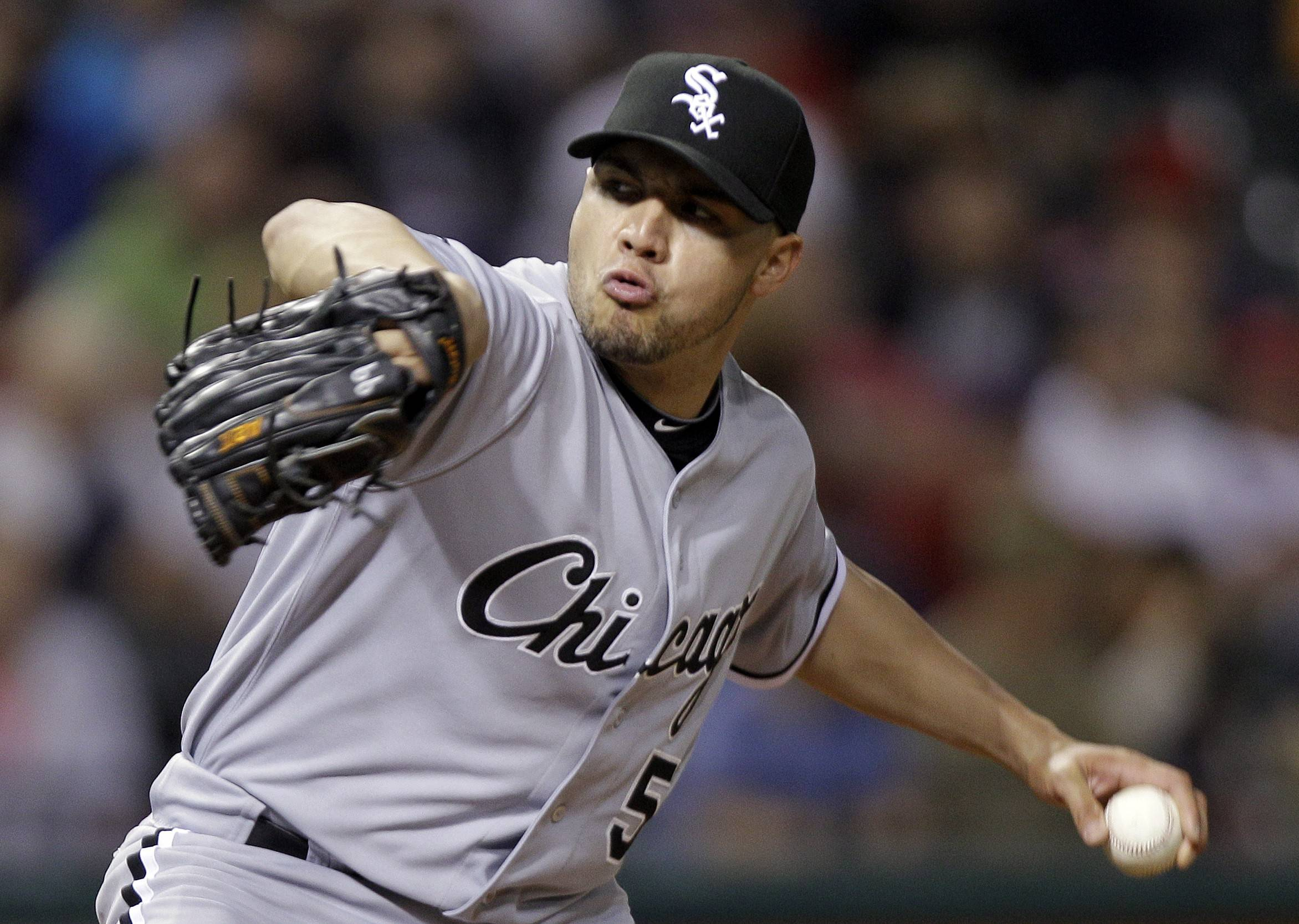 Chicago White Sox's Hector Santiago pitches against the Cleveland Indians in the ninth inning of a baseball game Tuesday, May 8, 2012, in Cleveland. The White Sox scored two runs in the 10th off Cleveland Indians relief pitcher Chris Perez to make Santiago the winner, 5-3.