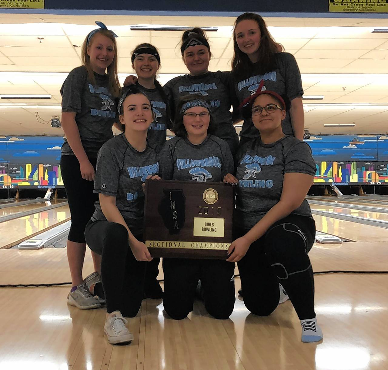 Photo courtesy of Willowbrook High School Willowbrook bowlers are pictured with their sectional plaque. Front left to right Betsy Soriano, Dana Sasenick, Makaylah Jones. Back left to right Holly Helsper, Katie Pettinger, Brianna Bryant, Paula Williams.