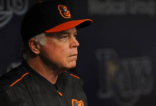 FILE - This Oct. 1, 2017 file photo shows Baltimore Orioles manager Buck Showalter watching from the dugout during the first inning of a baseball game against the Tampa Bay Rays in St. Petersburg, Fla. The Orioles began spring training on Wednesday, Feb. 14, 2018 with 35 pitchers and much uncertainty. Since last season ended, Baltimore shed four of its starters from the 2017 rotation: right-handers Jeremy Hellickson, Ubaldo Jimenez and Chris Tillman and left-hander Wade Miley. (AP Photo/Steve Nesius, file)