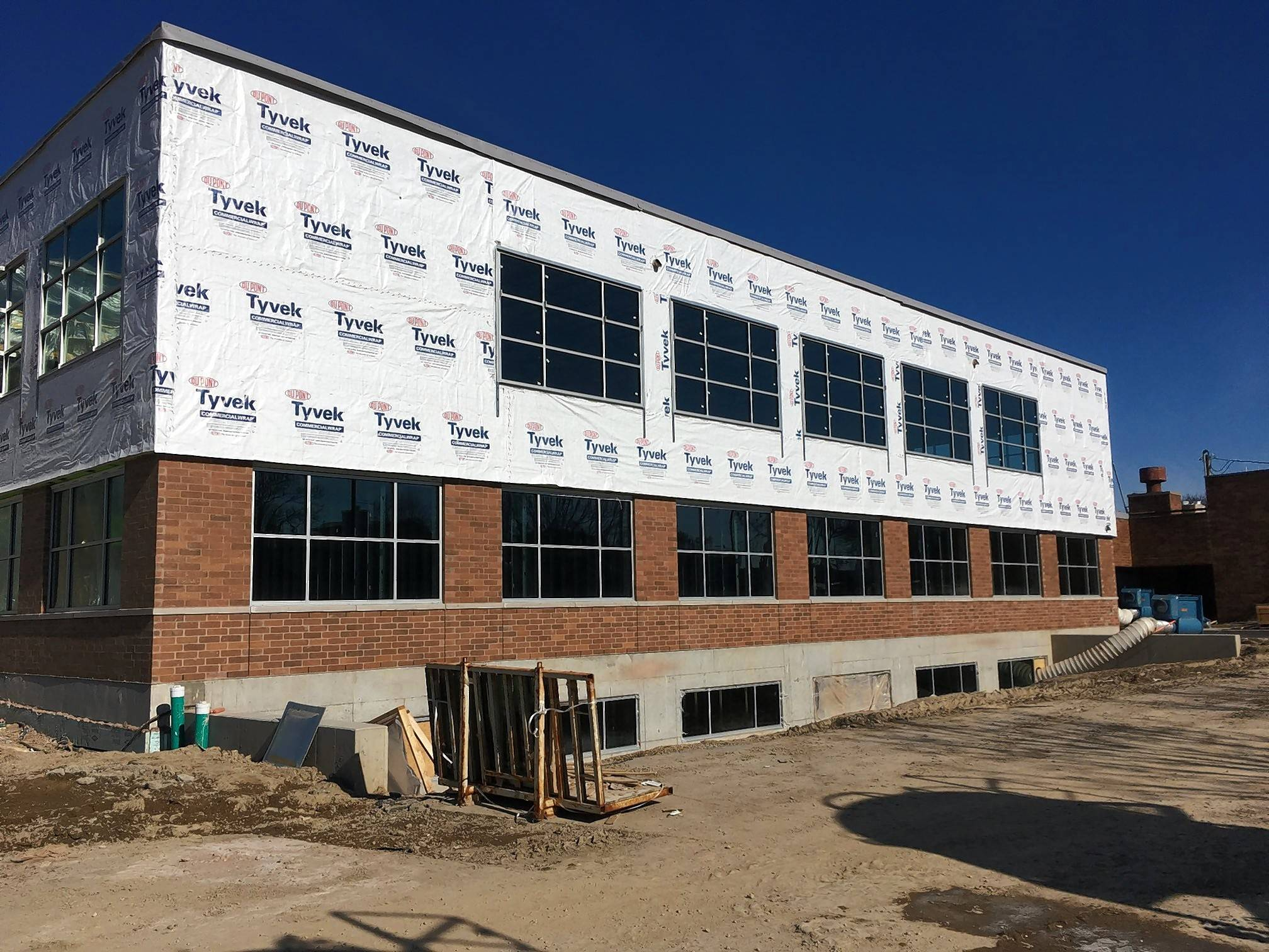 A building addition is taking shape on the west side of Carol Stream village hall.