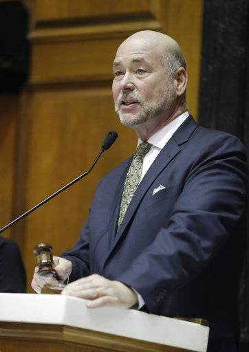 House Speaker Brian Bosma, R- Indianapolis, speaks following a hearing in the House chamber at the Statehouse, Wednesday, March 14, 2018, in Indianapolis.