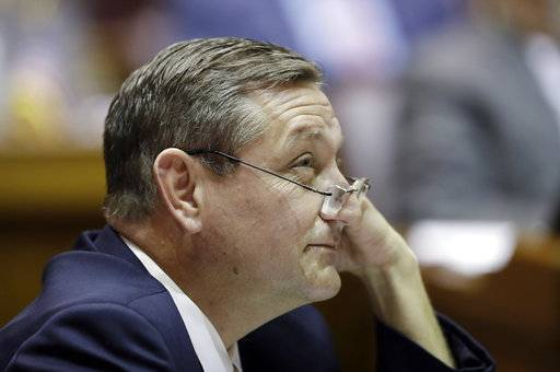 House Minority Leader Terry Goodin, D-Austin listens during a hearing at the Statehouse, Wednesday, March 14, 2018, in Indianapolis.