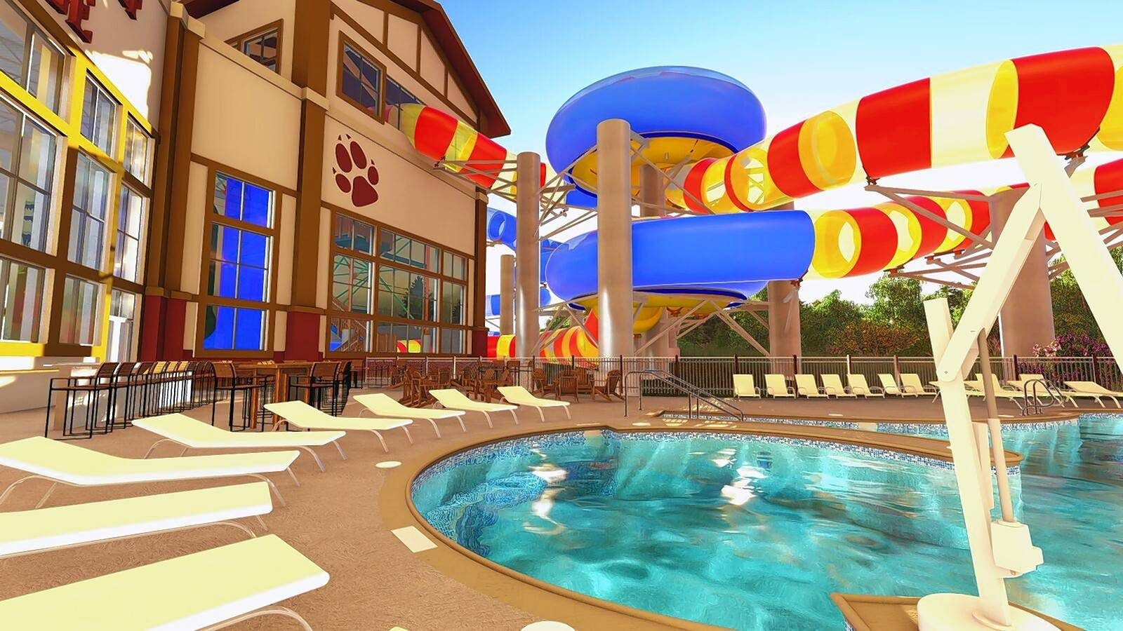 Great Wolf Lodge has revealed what its new Double Whirlwind waterslide will look like when the resort opens in July.