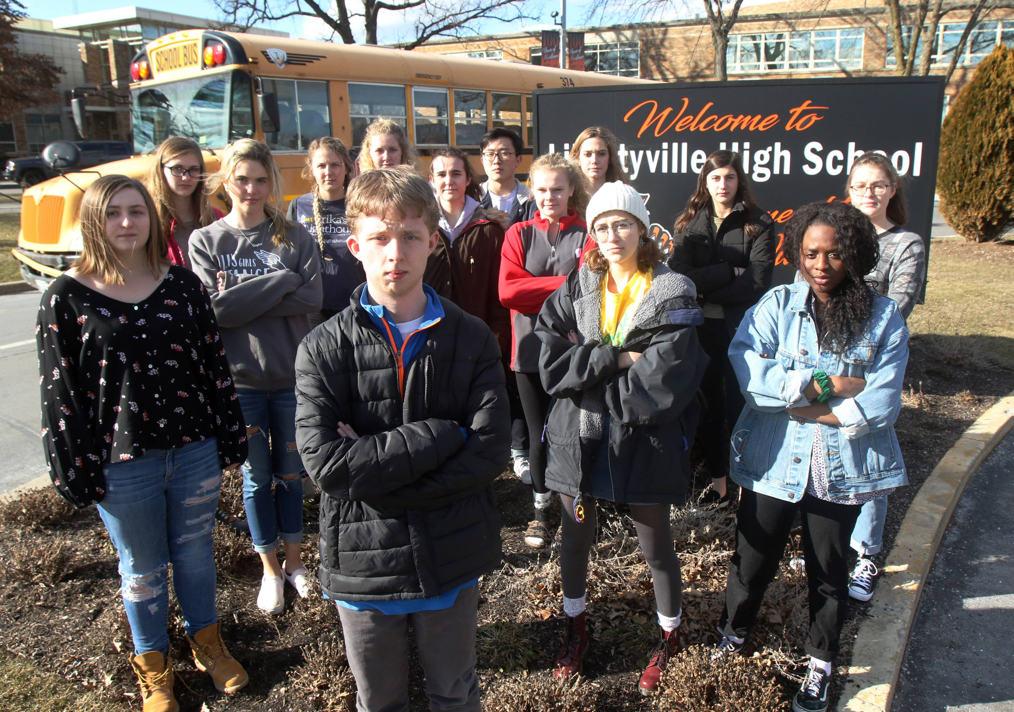 These students organized a walkout planned for today at Libertyville High School, one of several suburban schools where actions were scheduled to call for safer gun control policies.