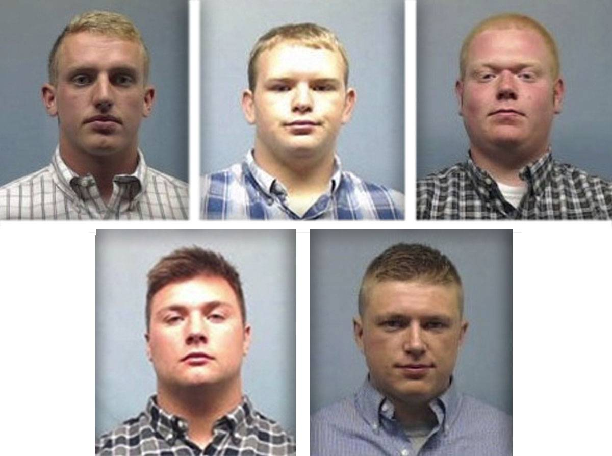 Five suspended Wheaton College football players face felony charges in connection with the 2016 hazing of a teammate. They are, upper from left, James Cooksey, Kyler Kregel and Ben Pettway and lower from left, Noah Spielman and Samuel TeBos.