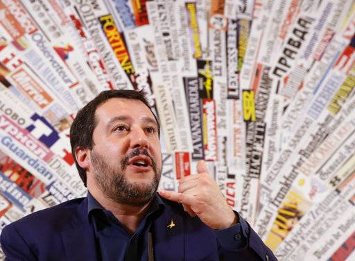 The League leader Matteo Salvini talks during a press conference at the foreign press association headquarters, Wednesday, March 14, 2018. (AP Photo/Alessandra Tarantino)