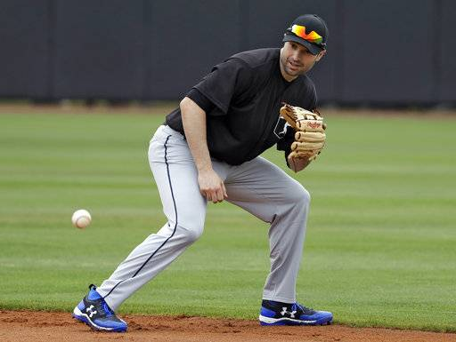 FILE - In this Feb. 27, 2018, file photo, Major League Baseball free agent second baseman Neil Walker fields a ground ball during infield drills before a scrimmage game in Bradenton, Fla. A person familiar with the negotiations says free agent infielder Neil Walker and the New York Yankees are close to an agreement on a one-year contract for about $5 million. The person spoke to The Associated Press on condition of anonymity Monday, March 12, 2018, because an agreement would be subject to a successful physical. (AP Photo/Chris O'Meara, File)