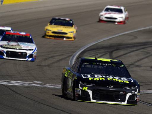 Jimmie Johnson, right, drives during a NASCAR Cup series auto race Sunday, March 4, 2018, in Las Vegas. (AP Photo/Isaac Brekken)