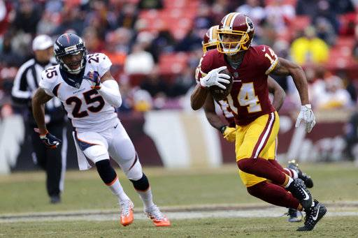 File- This dec. 24, 2017, file photo shows Washington Redskins wide receiver Ryan Grant (14) running the ball against Denver Broncos cornerback Chris Harris (25) during an NFL football game in Landover, Md. The Baltimore Ravens provided quarterback Joe Flacco with two new potential targets Wednesday, March 14, 2018, agreeing to terms with wide receivers Grant and John Brown on the first day of free agency.(AP Photo/Mark Tenally, File)