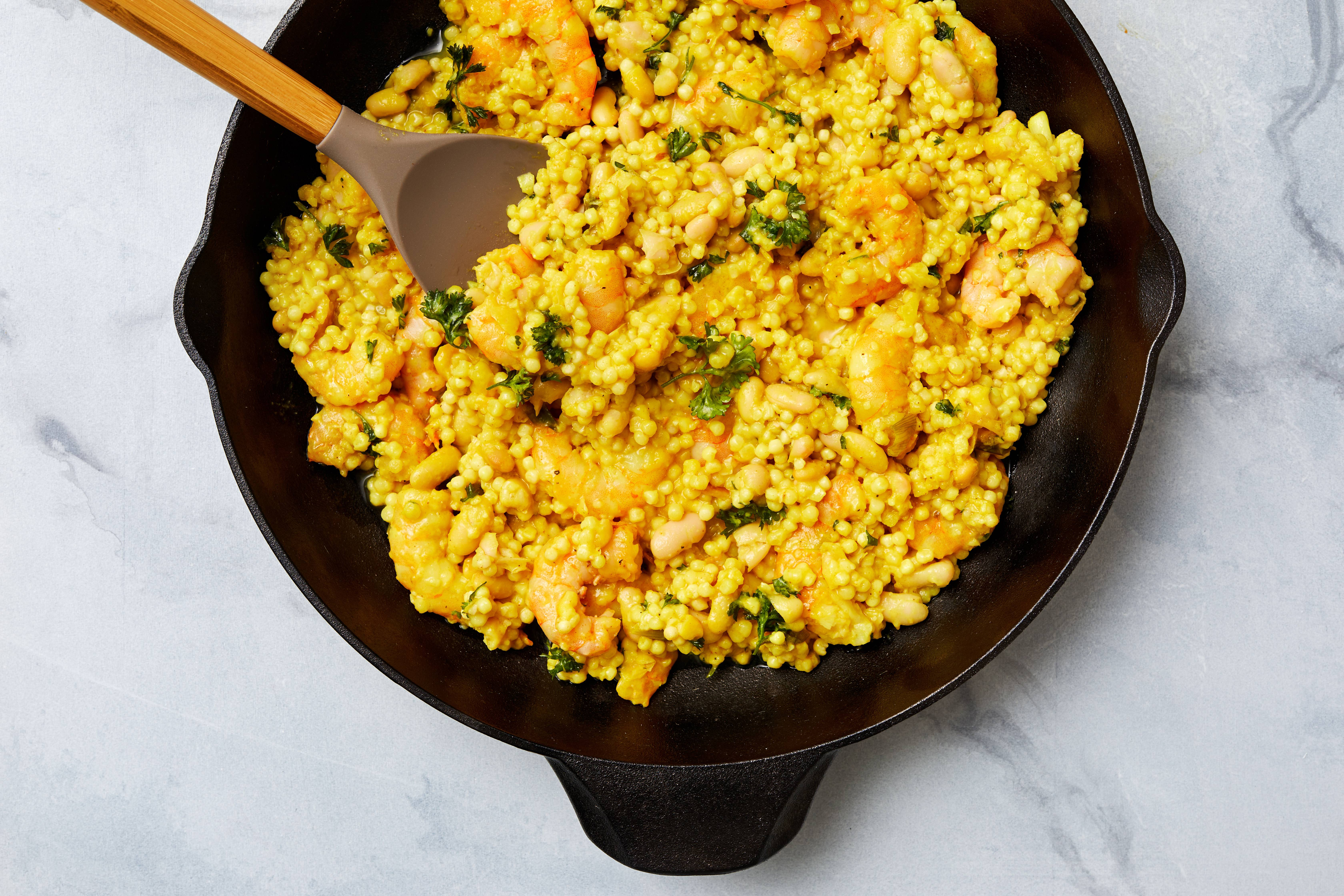 Lemony Shrimp With White Beans and Couscous.