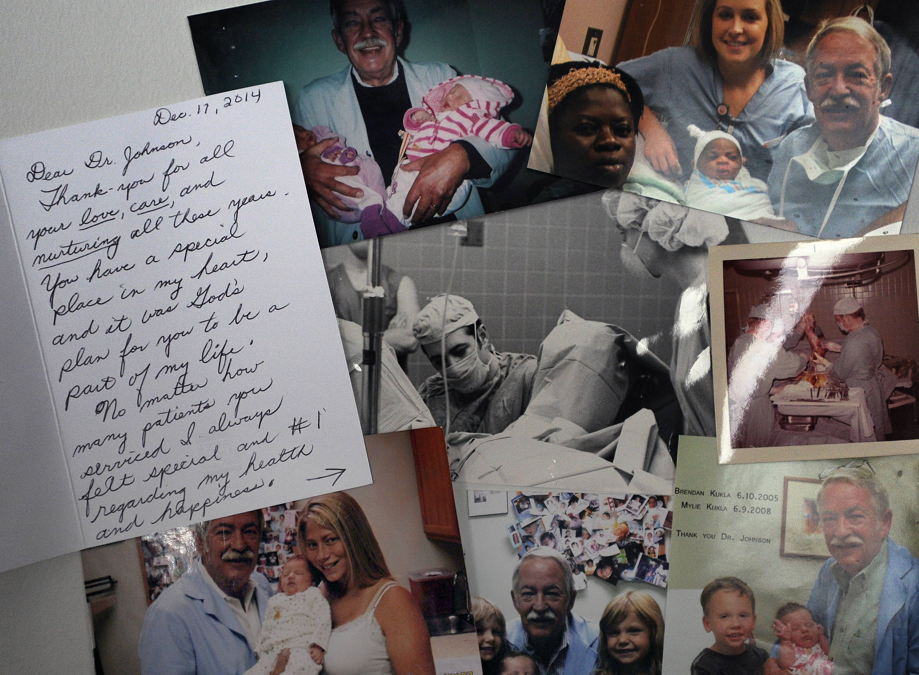 Patients and staffers have sent Dr. Jeffery B. Johnson hundreds of thank-you notes and photos of happy moms and babies during his more than half-century of delivering babies.