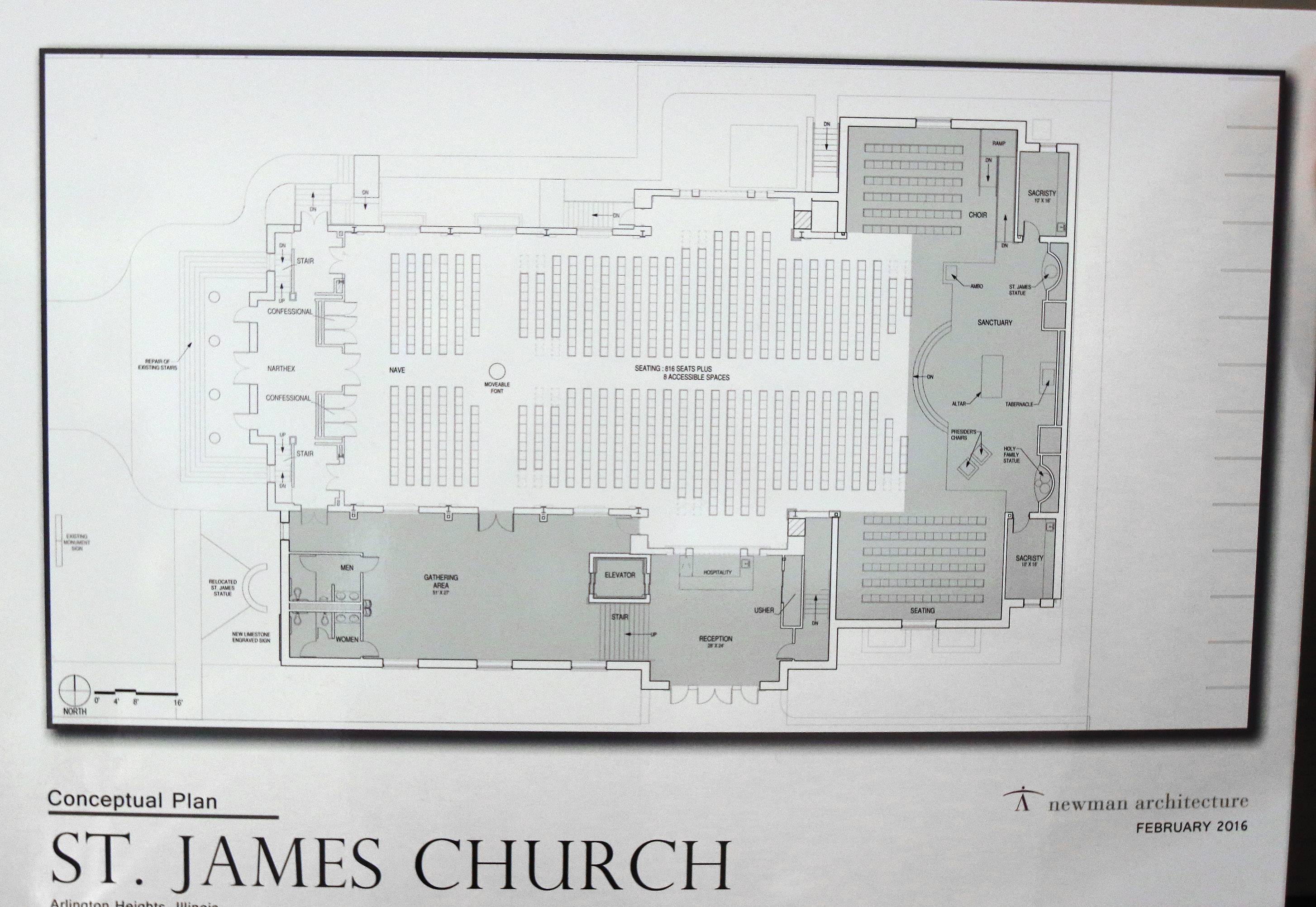 Drawing of expansion plans were shown Sunday during a groundbreaking and blessing ceremony at St. James Catholic Church in Arlington Heights.