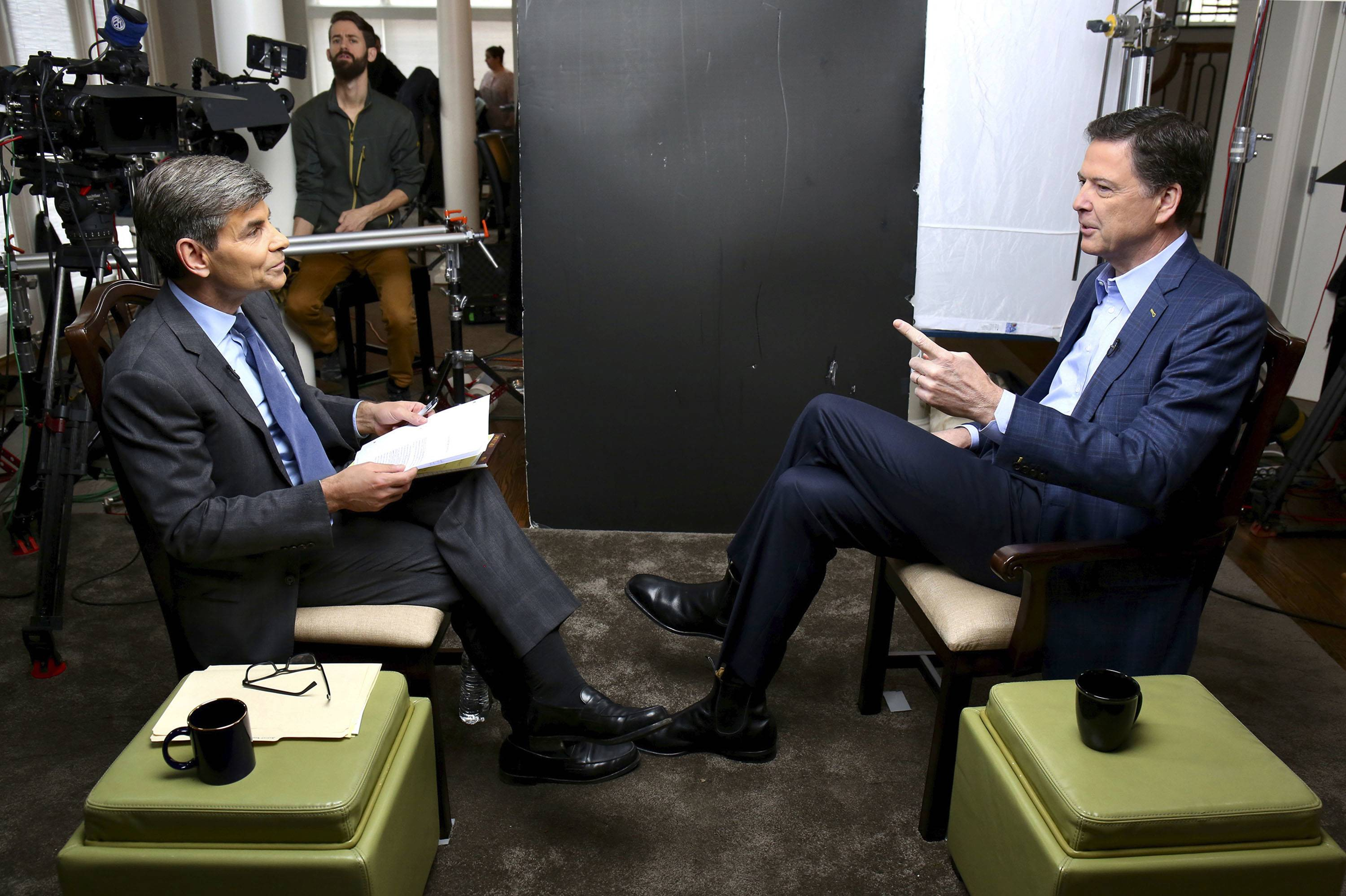 "Correspondent George Stephanopoulos, left, appears with former FBI director James Comey for a taped interview that will air during a primetime ""20/20"" special on Sunday. Comey's book, ""A Higher Loyalty: Truth, Lies, and Leadership,"" will be released on Tuesday."