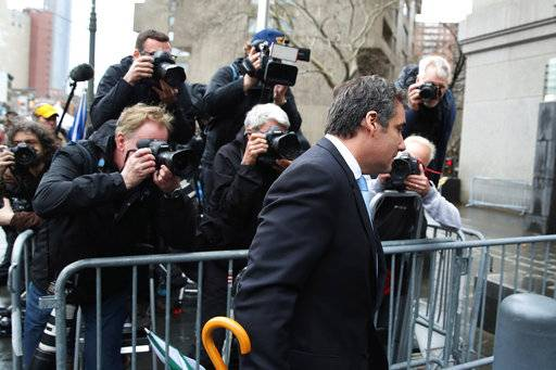 Michael Cohen, President Donald Trump's personal attorney, arrives at federal court, Monday, April 16, 2018, in New York. A U.S. judge will hear more arguments about Trump's extraordinary request that he be allowed to review records seized from Cohen's office as part of a criminal investigation before they are examined by prosecutors.