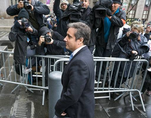 Michael Cohen, President Donald Trump's personal attorney, arrives for a hearing at federal court Monday, April 16, 2018, in New York.