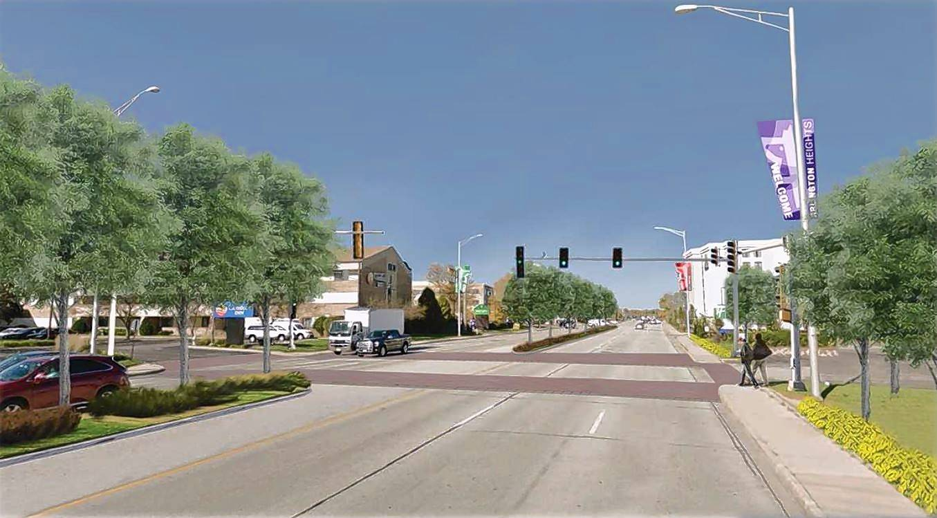 A rendering shows a proposed traffic signal on Arlington Heights Road north of Algonquin Road, marked crosswalks and landscaped medians -- part of village officials' vision for the corridor.