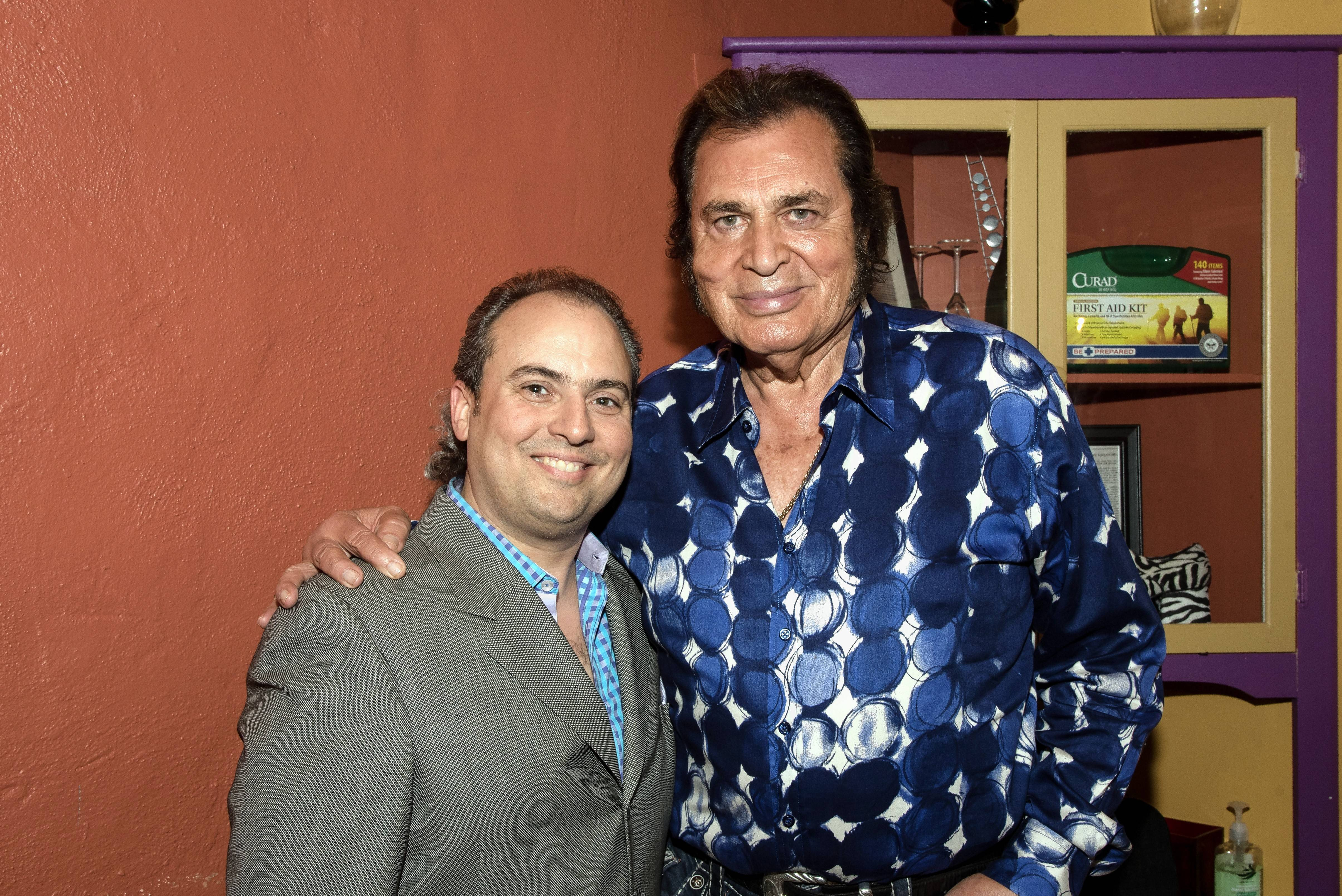 Ron Onesti, left, welcomes singer Engelbert Humperdink back to the Arcada Theatre in St. Charles Sunday, April 22.