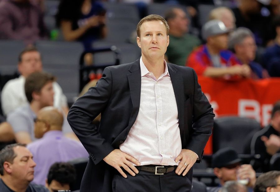 Bulls head coach Fred Hoiberg watches his team during a game against the Sacramento Kings in Sacramento, Calif. Despite a worst record this past season than the one before, there are no calls from fans to dump the head coach, who was hired in 2015.