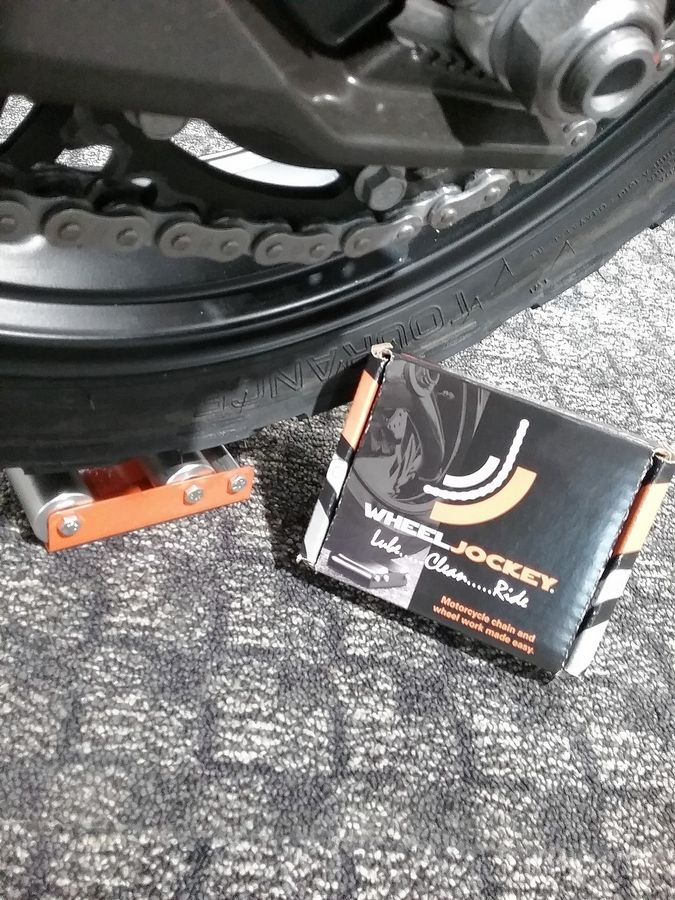 The Wheel Jockey allows you to rotate your motorcycle's tire for easy cleaning.