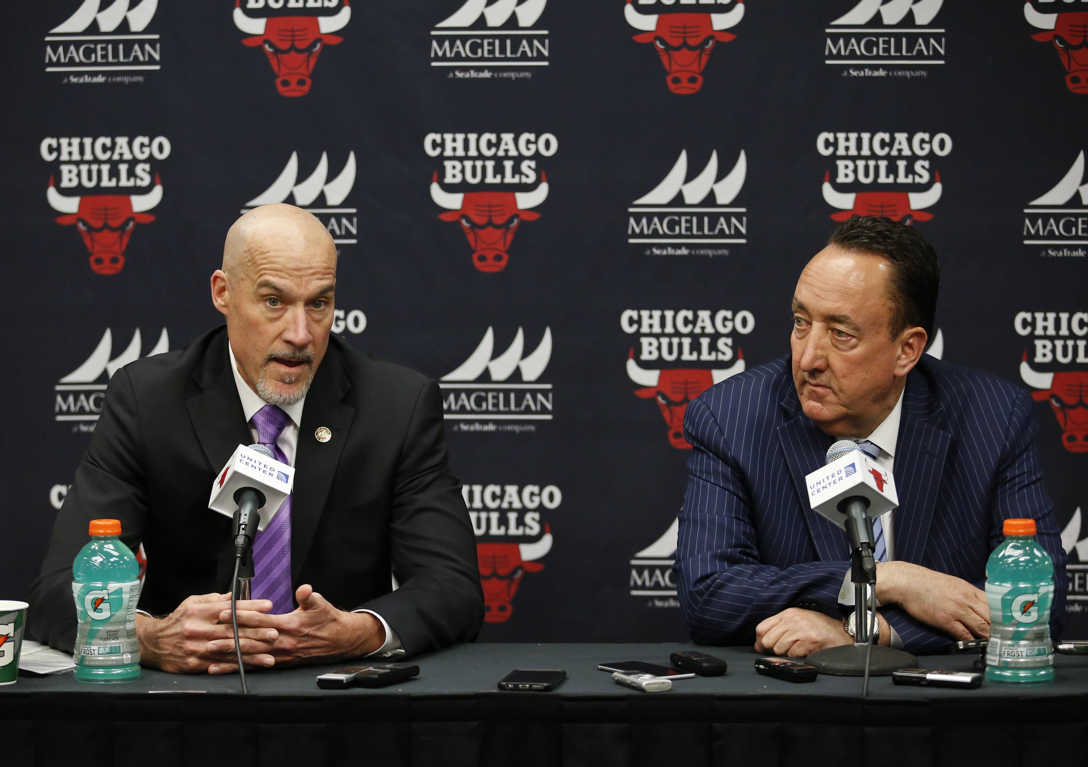 "John Paxson, Bulls executive vice president, left, address the media next to general manager Gar Forman after a game against the Philadelphia 76ers on April 13, 2016, in Chicago. After three years of ""Trusting the Process"" and winning fewer than 20 games, the Sixers are in the NBA playoffs. Should the Bulls do the same -- or can they take a shortcut?"