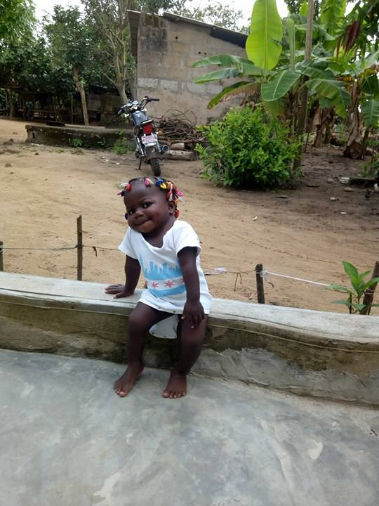 Wearing a Chicago shirt, Dominque will celebrate her second birthday today in her native Côte d'Ivoire. The girl is healthy today because of last year's surgery at Advocate Children's Hospital in Park Ridge, and care from her host mom, Nancy Swabb of Chicago.
