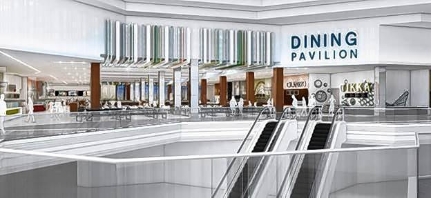 A rendering of the 820-seat dining pavilion on the upper level of the Sears wing at Woodfield Mall in Schaumburg, which will open to the public at noon Friday, May 18.